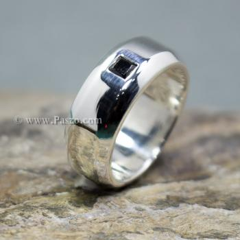 แหวนนิล แหวนตะไบขอบเฉียงฝังนิล แหวนเงินแท้ #2