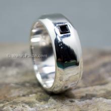 แหวนนิล แหวนตะไบขอบเฉียงฝังนิล แหวนเงินแท้