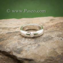 แหวนมุกดาหาร แหวนเงินหน้าโค้ง ฝังพลอยมูนสโตน