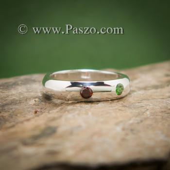 แหวนเกลี้ยงหน้าโค้ง ฝังพลอย3สี แหวนเงินแท้ #2