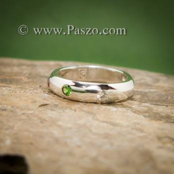 แหวนเกลี้ยงหน้าโค้ง ฝังพลอย3สี แหวนเงินแท้ #3