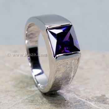 แหวนพลอยอะเมทิสต์ แหวนผู้ชาย พลอยสี่เหลี่ยม #2