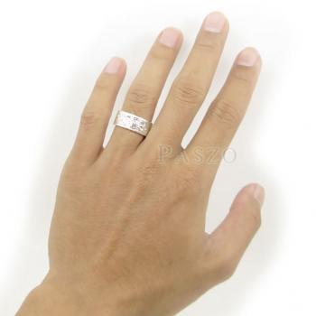 แหวนแกะลายรอบวง หน้ากว้าง8มิล แหวนเกลี้ยงหน้าเรียบ #6