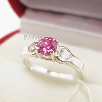 แหวนสีชมพู แหวนโทพาซ แหวนเงินแท้ #2