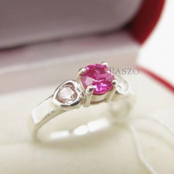 แหวนสีชมพู แหวนโทพาซ แหวนเงินแท้ #3