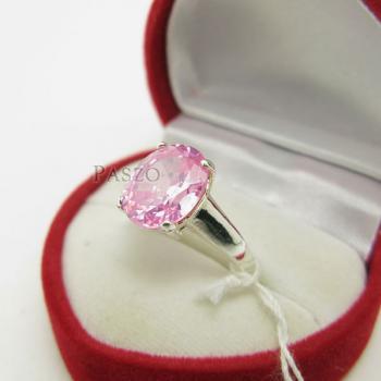 แหวนพลอยสีชมพู แหวนโทพาซ พลอยเม็ดเดี่ยว #2