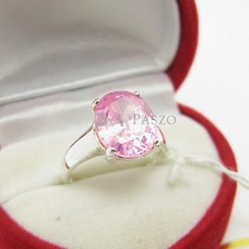 แหวนพลอยสีชมพู แหวนโทพาซ พลอยเม็ดเดี่ยว #3