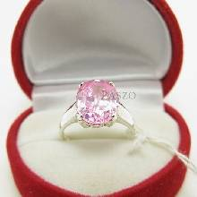 แหวนพลอยสีชมพู แหวนโทพาซ พลอยเม็ดเดี่ยว แหวนเงินแท้ พลอยสีชมพู 4กะรัต