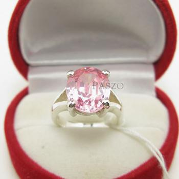 แหวนพลอยสีชมพู แหวนโทพาซ เม็ดเดี่ยว #3