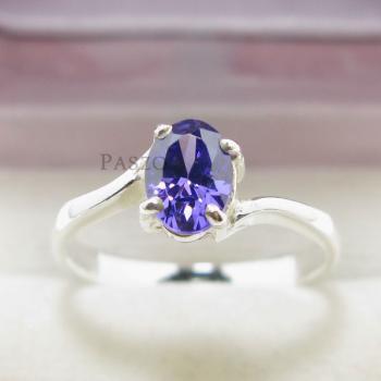 แหวนพลอยอะมิทีสต์ พลอยสีม่วง เม็ดเดี่ยว #2