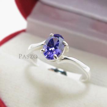 แหวนพลอยอะมิทีสต์ พลอยสีม่วง เม็ดเดี่ยว #3