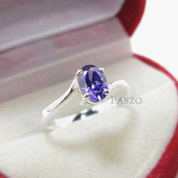 แหวนพลอยอะมิทีสต์ พลอยสีม่วง เม็ดเดี่ยว #4
