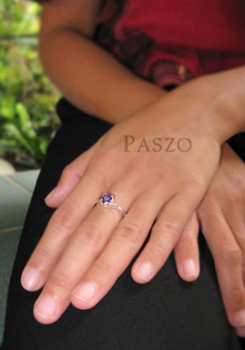 แหวนพลอยอะมิทีสต์ พลอยสีม่วง เม็ดเดี่ยว #5