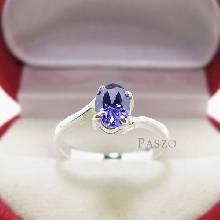 แหวนพลอยอะมิทีสต์ พลอยสีม่วง เม็ดเดี่ยว บ่าไข้ว แหวนเงินแท้ 925