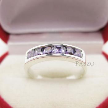 แหวนสีม่วง แหวนพลอยอะเมทิส แหวนแถว #2