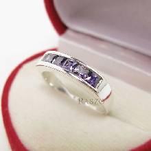 แหวนสีม่วง แหวนพลอยอะเมทิส แหวนแถว แหวนพลอยสีม่วง 6เม็ด แหวนเงินแท้