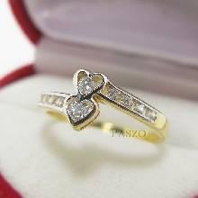 แหวนเพชร แหวนรูปหัวใจ หัวใจคู่ แหวนทองชุบ