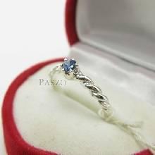 แหวนพลอยไพลิน พลอยสีน้ำเงินเม็ดเดี่ยว เล็กๆน่ารัก ตัวเรือนเงินเกลียว แหวนเงินแท้ 925