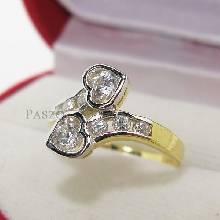 แหวนหัวใจ แหวนเพชร หัวใจคู่ แหวนทองชุบ