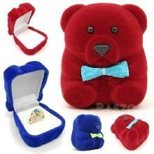 กล่องใส่แหวน รูปหมีเล็ก กล่องกำมะหยี่
