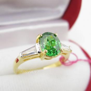 แหวนมรกต ปะดับเพชร แหวนพลอยสีเขียว #2