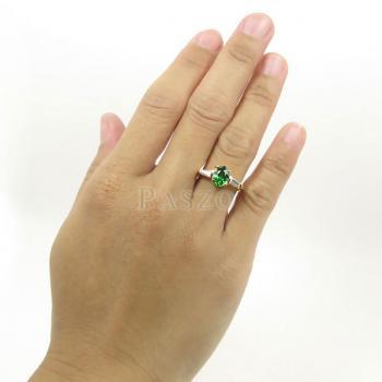 แหวนมรกต ปะดับเพชร แหวนพลอยสีเขียว #3