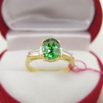 แหวนมรกต ปะดับเพชร แหวนพลอยสีเขียว #4