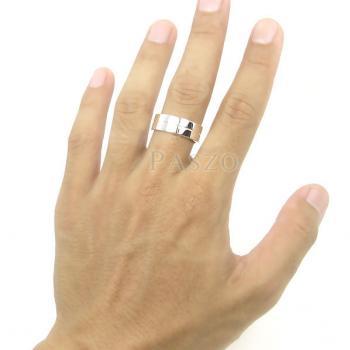 แหวนเซาะร่อง หน้ากว้าง8มิล แหวนเงินแท้ #7