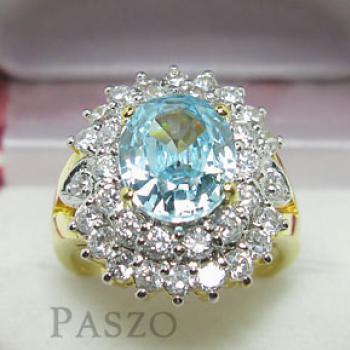 แหวนพลอยสีฟ้า ล้อมเพชร แหวนชุบทอง #2