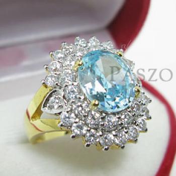 แหวนพลอยสีฟ้า ล้อมเพชร แหวนชุบทอง #3