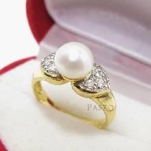 แหวนไข่มุก ประดับเพชร แหวนชุบทอง