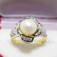 แหวนไข่มุก ล้อมเพชร แหวนชุบทอง