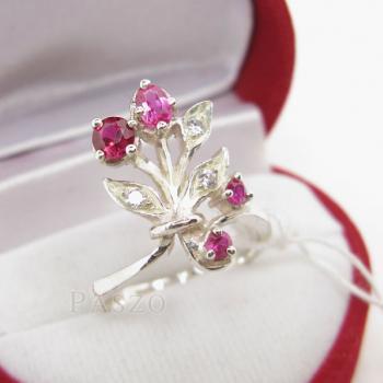 แหวนพลอยทับทิม พลอยสีแดง ช่อดอกไม้ #2