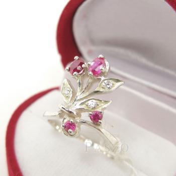 แหวนพลอยทับทิม พลอยสีแดง ช่อดอกไม้ #3