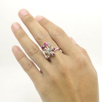 แหวนพลอยทับทิม พลอยสีแดง ช่อดอกไม้ #4