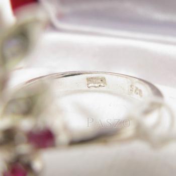 แหวนพลอยทับทิม พลอยสีแดง ช่อดอกไม้ #5