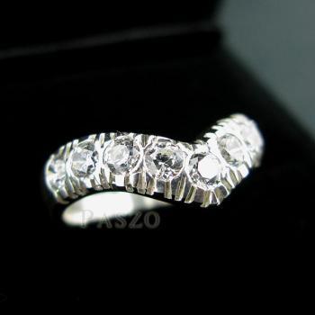 แหวนเพชร 7เม็ด แหวนเงินฝังเพชร #4