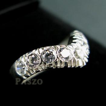 แหวนเพชร 7เม็ด แหวนเงินฝังเพชร #5