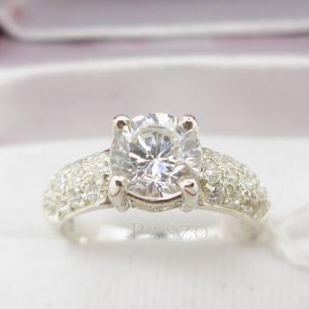 แหวนเพชร แหวนเงินฝังเพชรน้ำงาม แหวนเงินฝังเพชร #4