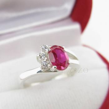 แหวนพลอยทับทิม แหวนเงินแท้ฝังพลอยสีแดง ประดับเพชร #2