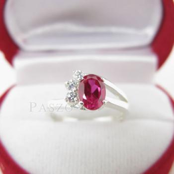 แหวนพลอยทับทิม แหวนเงินแท้ฝังพลอยสีแดง ประดับเพชร #3