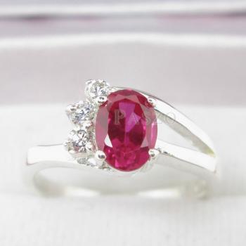 แหวนพลอยทับทิม แหวนเงินแท้ฝังพลอยสีแดง ประดับเพชร #4