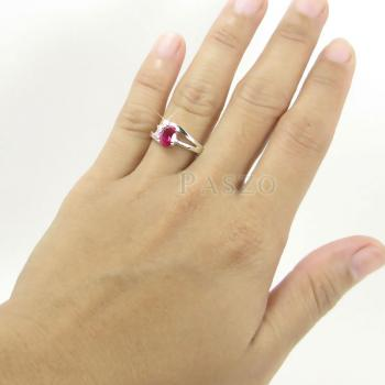 แหวนพลอยทับทิม แหวนเงินแท้ฝังพลอยสีแดง ประดับเพชร #5
