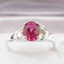 แหวนพลอยทับทิม สีแดง ประดับเพชร แหวนเงินแท้ 925
