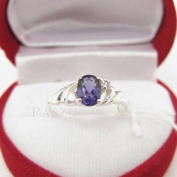 แหวนพลอยสีม่วง แหวนเงินฝังพลอยอะมิทิสต์ สีม่วง #2