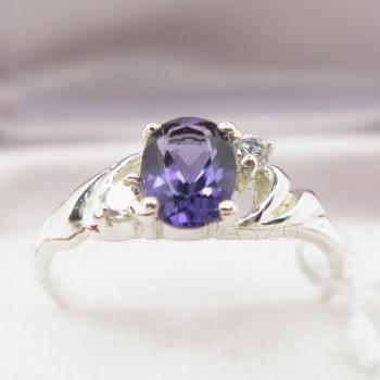 แหวนพลอยสีม่วง แหวนเงินฝังพลอยอะมิทิสต์ สีม่วง #3