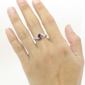 แหวนพลอยสีม่วง แหวนเงินฝังพลอยอะมิทิสต์ สีม่วง #4