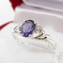 แหวนพลอยสีม่วง แหวนเงินฝังพลอยอะมิทิสต์ สีม่วง ประดับเพชร