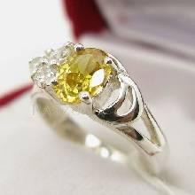 แหวนพลอยสีเหลือง แหวนเงินแท้ บุษราคัม พลอยสีเหลือง ประดับเพชร แหวนขนาดเล็ก