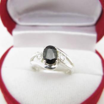 แหวนนิล พลอยสีดำ แหวนเงินฝังนิล #2
